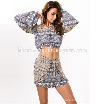 2017 mujeres atractivas vestidos de dos piezas de impresión vestido de fiesta de verano ropa de playa de moda ropa de mujer