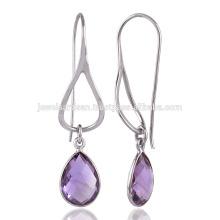 Eine schöne Birne des purpurroten Amethyst 925 Sterlingsilber-Tropfen Ohrringe