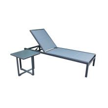 Открытый алюминиевый слинг шезлонг с приставным столиком