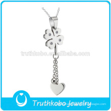 TKB-JP0165 Women new design crystal paved four of the clover with heart lengthen chain stainless steel lucky charm pendant