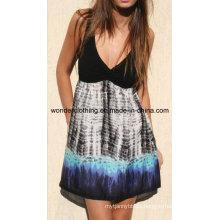Contraste de punto con tela tejida Vestido de mujer sexy de moda de verano