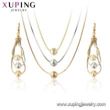 64882 xuping Mehrfarbengoldschmucksatz für Frauen, chinesischer Großhandels spätester Satz mit Halskette und Ohrringe
