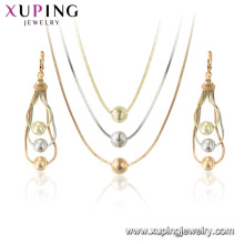 64882 xuping conjunto de joyas de oro multicolor para mujeres, conjunto chino al por mayor con collar y pendientes al por mayor