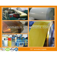 PET film laminate tinplate in different color for metal package