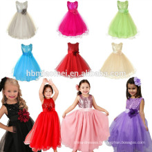 2017 latest design girl prom dress with tulle sash floor length A line one piece girls party dresses for western party wear