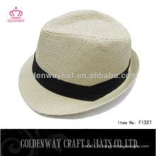 Chapeau blanc Fedora avec bande noire