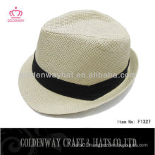 White Fedora Hat With Black Band