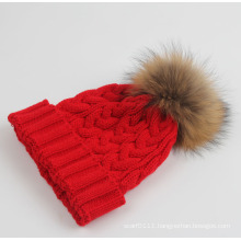 Lady Fashion Racoon Fur Acrylic Knitted Winter Warm Hat (YKY3122)