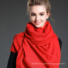 Women in Winter to Keep Warm Plain Red Polyester Scarf