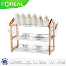 3-Tiers Wooden Dish Drainer with Plastic Tray