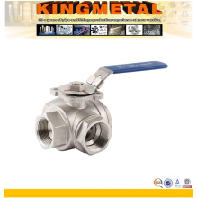 Stainless Steel Three Way Ball Valve with ISO5211 Mounting Pad