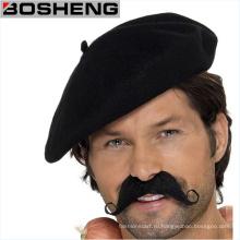 Мода Зимняя мужская шерсть Черный Берет Cap Hat- Французский Берет