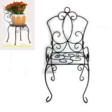Decoración de jardín popular Metal Black Linellae Chair Flowerpot Stand