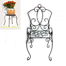 Popular Garden Decoration Metal Black Linellae Chair Flowerpot Stand