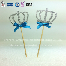 Slivery Crown with Toothpick Cake Toppers for Birthday Cake Decoration