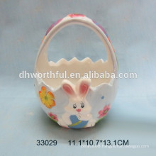 Handpainting rabbit design ceramic baskets for Easter day