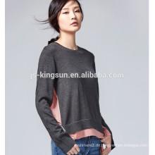 JS-11019 Seitenschlitze Verschiedene Farben Rundhals Neueste Design Damen Pullover