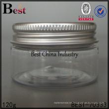 Tarro cosmético plástico 120g / 130g / 150g / 250g, envase de plástico vacío para el casquillo de aluminio líquido, caliente del tarro de la venta, una muestra gratis