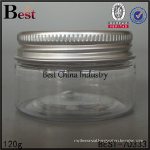 120g/130g/150g/250g plastic cosmetic jar, empty plastic container for liquid , hot sell jar aluminum cap, one sample for free