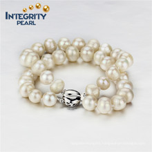 9mm AA- Freshwater Potato 2 Rows Sterling Silver Clasp Pearl Bracelet