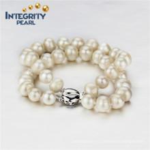 9mm AA- Pomme d'eau douce 2 cordes Bracelet en argent sterling Bracelet perle