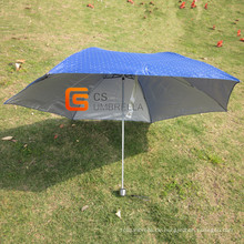 Setzen Sie in Tasche Mini blaues Tuch 3 Fach Regenschirm (YSF3115B)