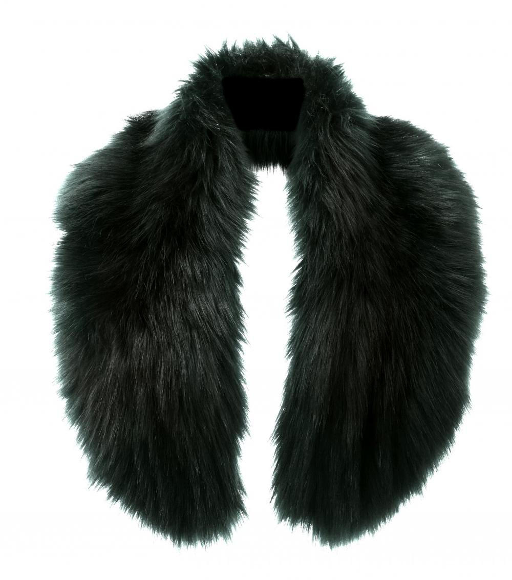 Dark Green Faux Fur Collar