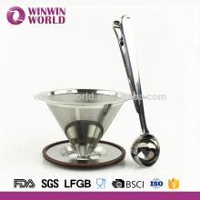 2 tasse 8/18 acier inoxydable versez sur le cône et le support de filtre à café avec Scoop