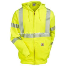 Men's High-Visibility Green Safety Hooded Sweatshirt