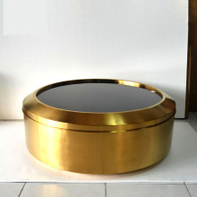 Cylindrical stainless steel short coffee table