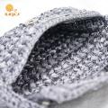 Crochet Handmade Grey Pearl Clutch Sac à main