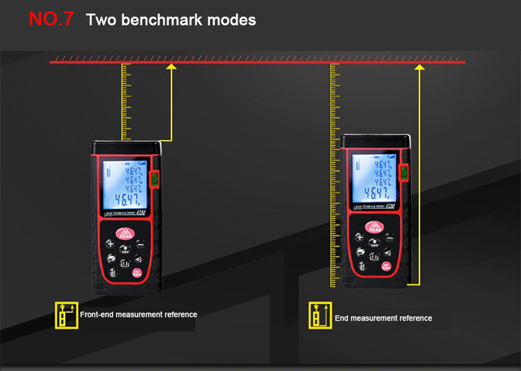 Front rear end switch laser distance meter