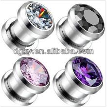 Popular oído de acero inoxidable piercing enchufe de oreja joyas con cristal