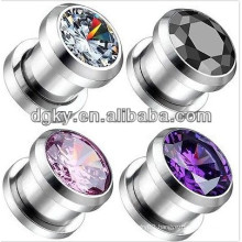 Popular stainless steel ear piercing jewelry ear plug with crystal