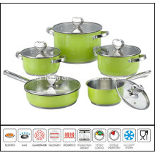 10PCS Stainless Steel Color Cookware Set