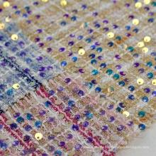 Необычная ткань из 100% полиэстера и твида, шерстяная ткань с металлической вышивкой пайетками для пальто