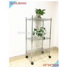 2015 new multi function 3 tier metal storage rack with wheels,bathroom storage rack