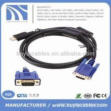 Varón del varón del oro de 1.8M al cable masculino 6FT 1080p del convertidor del VGA