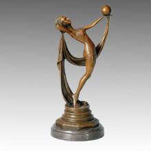Tänzer-Statue Handball-Mädchen-Bronze-Skulptur, Milo TPE-378