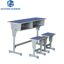 Height Adjustable School Furniture Student Double Seat School Desk and Chair
