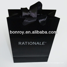 Printed paper bag/Luxury promotional paper bag with cotton ribbon handle
