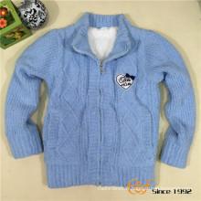 Manteau tricoté d'étiquette brodée de pâte de fantaisie de double couche pour des enfants