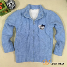 Double Layer Fancy Yarn Paste Embroidered Label Knitted Coat for Children