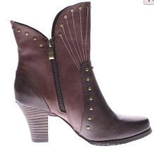 Wild West Two-Tone Look Leather Ankle Boots for Women