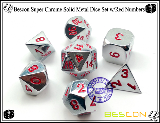Bescon Super Chrome Solid Metal Dice Set with Red Numbers-1