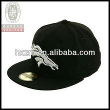 2013 black flat circular brim 6-panel elastic embroidery snapback hat&cap