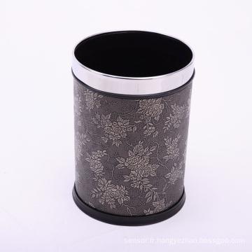 Poubelle en papier en cuir couvert en acier ouvert (A12-1903A)