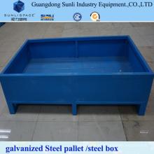 Paleta de caja de acero galvanizado resistente de 1,5 t en rack