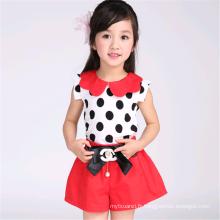 Le dernier ensemble de vêtements de filles mignon d'été de décoration de point de polka