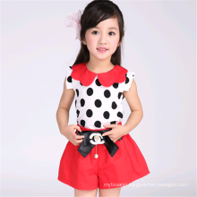 Latest Polka Dot Decoration Cute Summer Girls Clothing Set